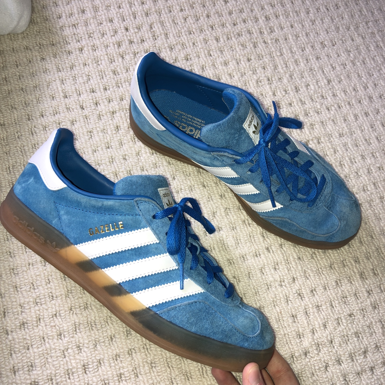 adidas original gazelle indoor blue and white Depop