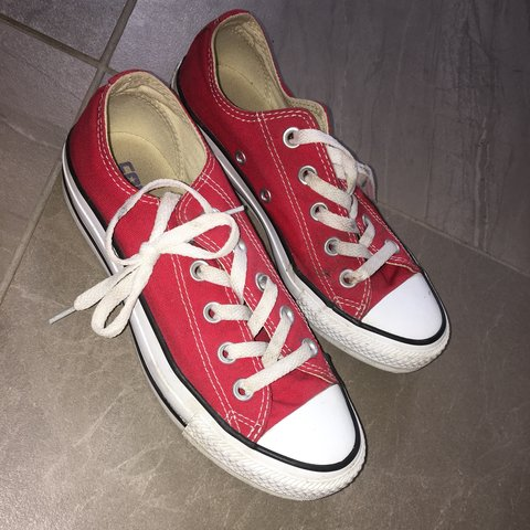 Maroon low converse worn once size 4 #trainers Depop