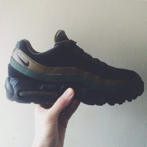 51f35acb4a7cbe ... shop nike air max 95 carbon green gold black 2016 uk 10. in depop 4450a