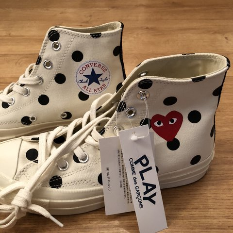 ff90b9f2f120 Play converse polka dot Chuck Taylor all star  70 high white - Depop