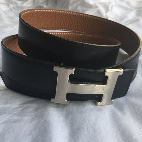 8e9f087a606c3 genuine Hermés black leather belt with silver 'H' buckle. in - Depop