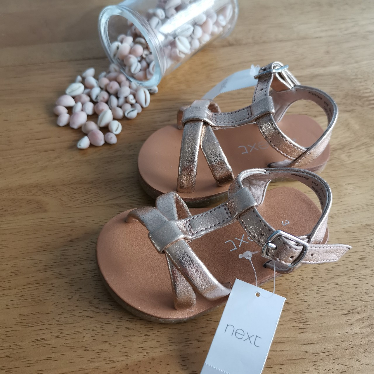 Next baby girl gold sandals. Size 3