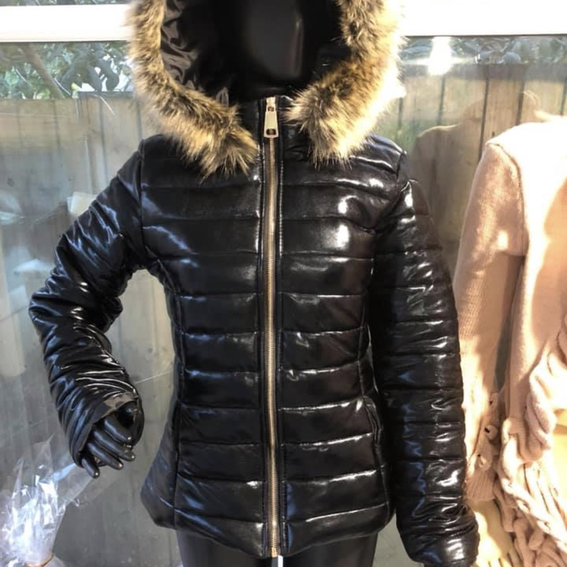 a466f0db5 Black faux fur hood bubble coat Sizes 6-16 New with... - Depop