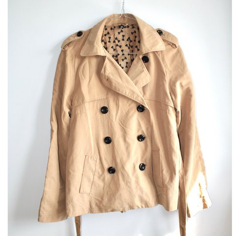1b8b3e3a43a1a H M Short camel-coloured trench coat. Size 10. Comes with - Depop
