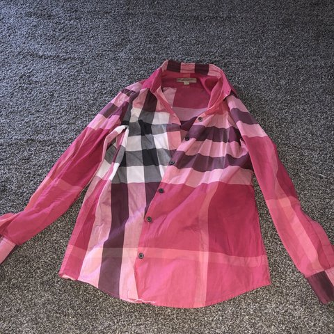 a40e17b7792 Burberry London pink long sleeved shirt size small would fit - Depop