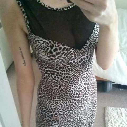 19ecb8566a Size 8 leopard print bodycon dress with mesh plunge front