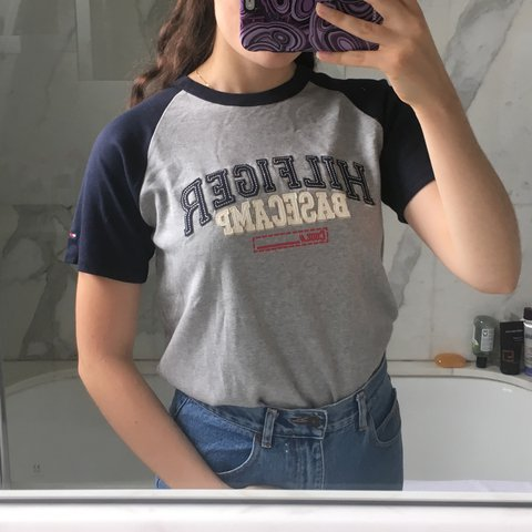 2e324e2707f3a Cute n sporty vintage Tommy Hilfiger spell out baseball t or - Depop