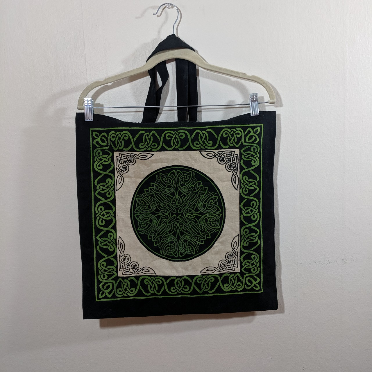Cool Celtic pagan witch tote   This green and cream    - Depop