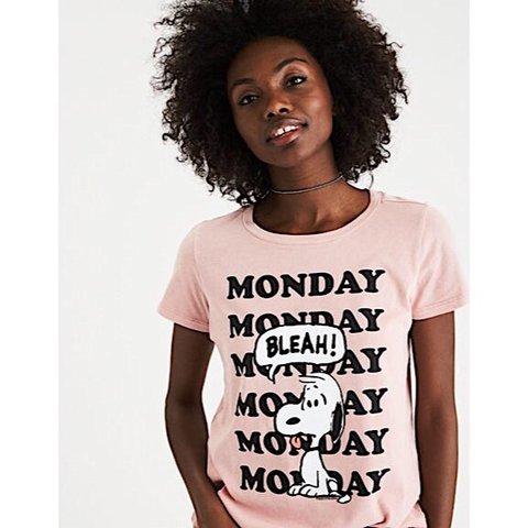 Aeo Mighty Fine X Peanuts Mauve Pink Monday Bleh Tee Snoopy Depop