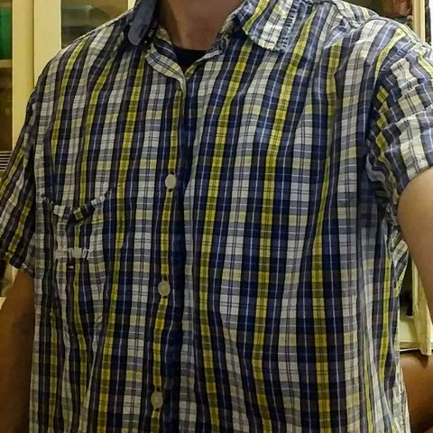 b5b85896 @yardsellinc. last month. Mobile, Mobile County, United States. Tommy  Hilfiger Button Down Short Sleeve Shirt Blue and Yellow Checkered ...