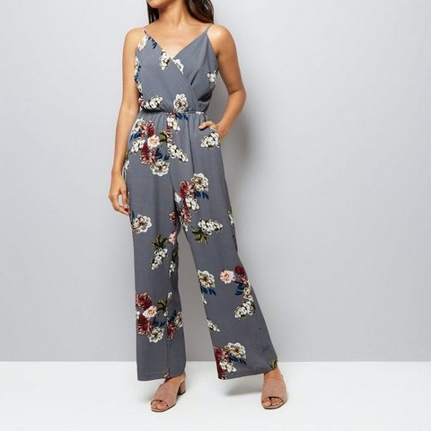 48a2800fb1b0 Petite Grey Floral Jumpsuit with Wrap Front (and SOLD OUT a - Depop