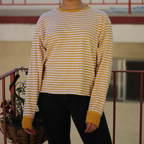 8cd3813bb3 @10v. 10 months ago. Albany, United States. 🦋Brandy Melville Deep yellow  mustard and white striped Acacia long sleeve top🦋