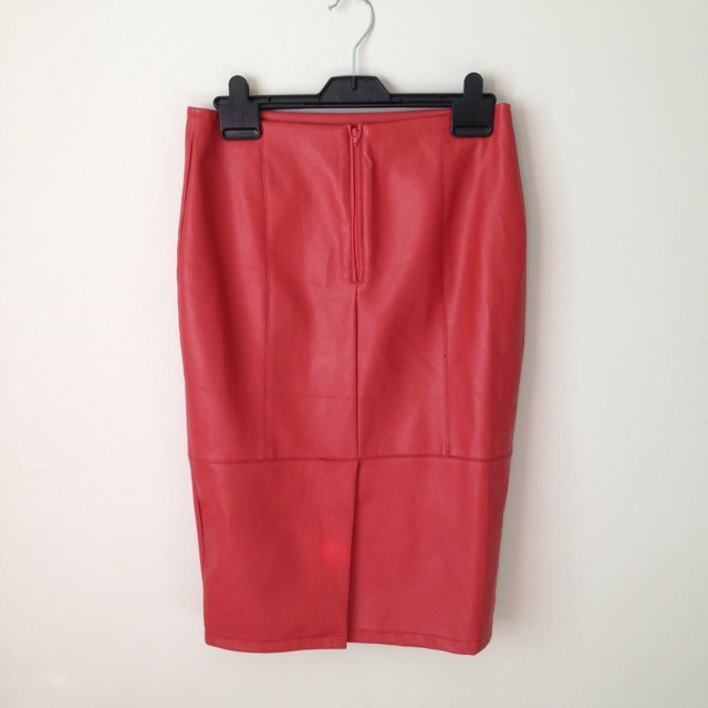 e5655809bd7a @amycurranx. 5 years ago. Wythenshawe, United Kingdom. ASOS leather look  orangey red knee length fitted skirt!