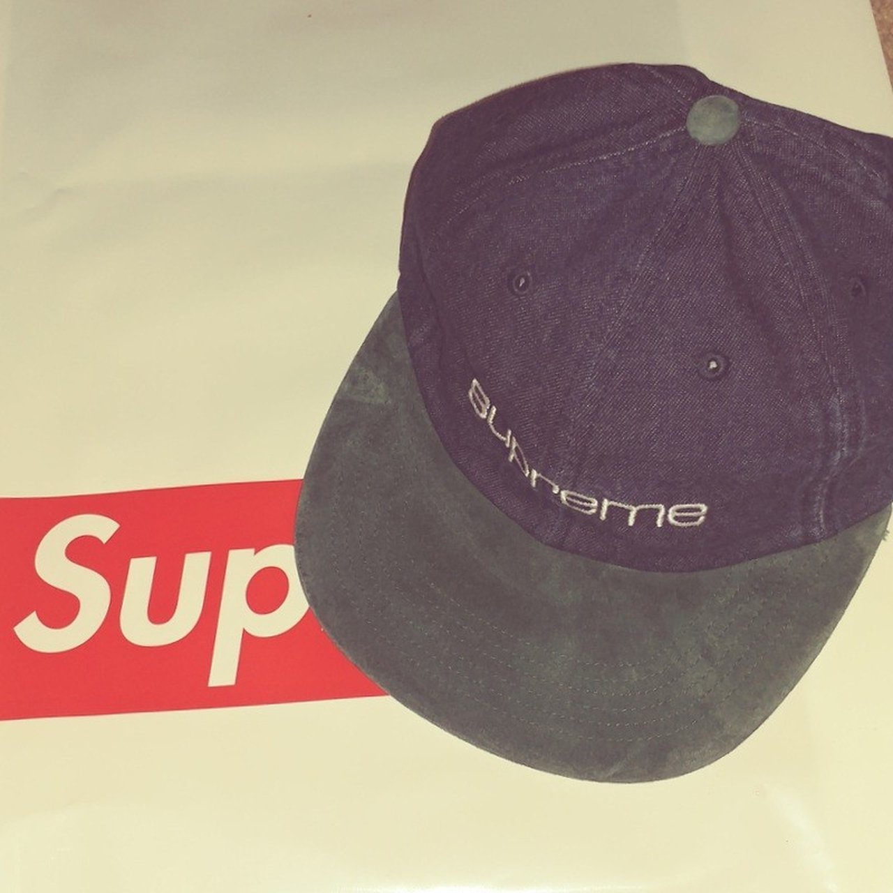 Supreme Denim Suede Compact Logo 6 Panel Cap From 18 Brand - Depop bc2fb99d9e4b
