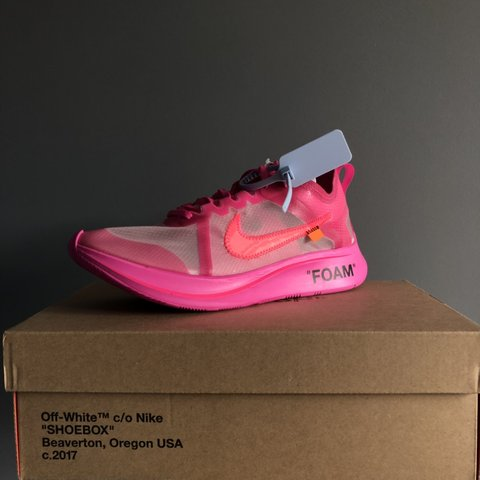 5e3eec5175bc9 Nike x Off White Zoom Fly pink Size US9.5   UK8.5   DSWT - Depop