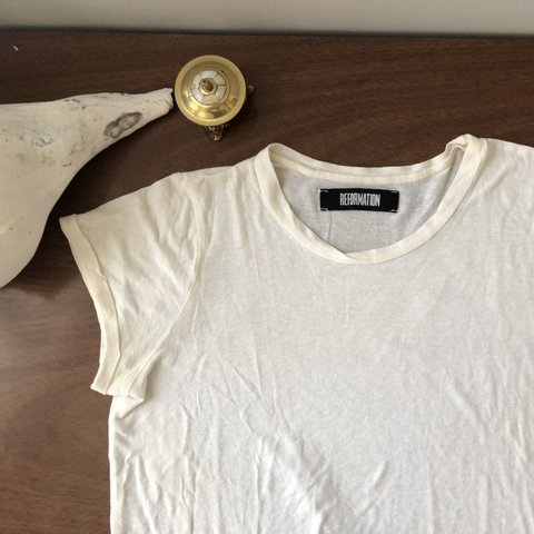 98ff3980e602 The perfect white tee. Reformation Austin tee- off white and - Depop