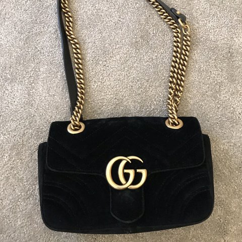 ef26a659fb1f Black Gucci velvet bag with gold chain! Purchased from of a - Depop