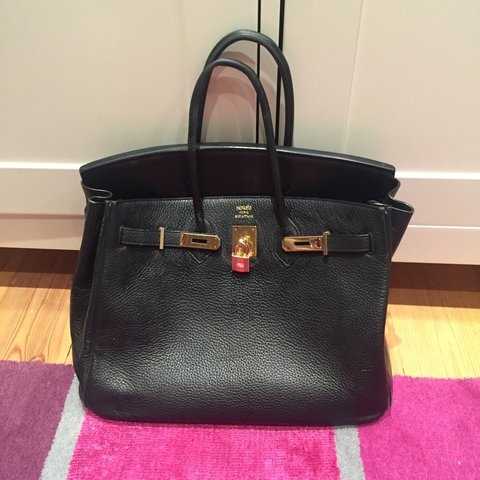 46b575da3fa8 Black Hermes birkin style bag with logo. Genuine leather. X - Depop