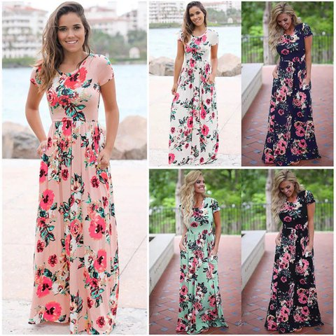 dedeb3b5349c  jthbabe32. last year. United States. Women Sexy Long Sleeve Summer Fashion  Style Long Party Dress Leisure Female Floral Print ...