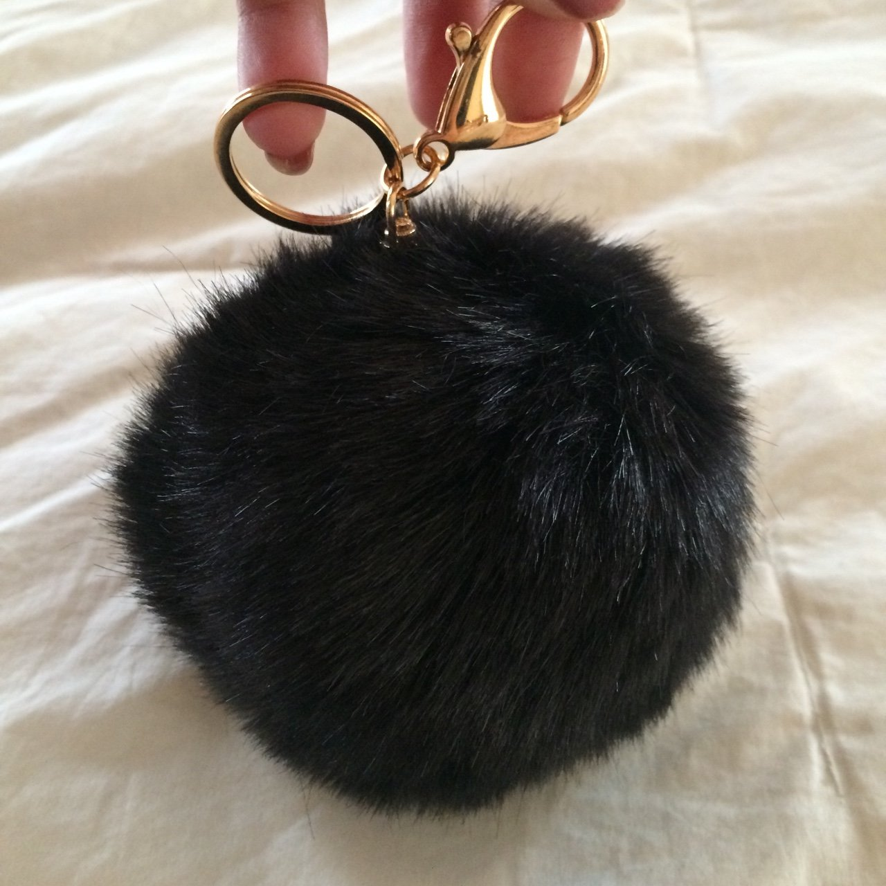 BRAND NEW black faux fur ball keychain. perfect to hang on a - Depop 99bb72d28