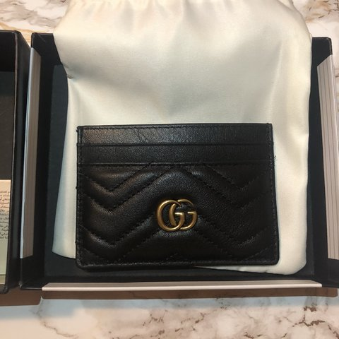 100f76f46208 @bvlkari. 7 months ago. Houston, United States. BRAND NEW Gucci gg Marmont  Black card holder. Never used! Comes with dust bag ...