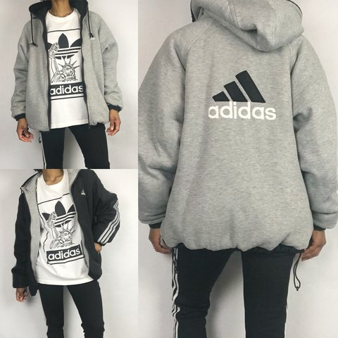b8fd12014 @kuration. last year. Anchorage, United States. Adidas 90s Vintage Reversible  Hooded Bomber Jacket