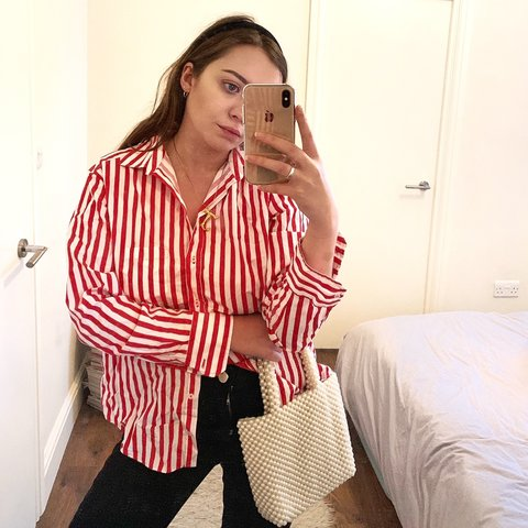 37cc177127 @electraviolet. 5 months ago. London, United Kingdom. Zara red and white  striped shirt ...