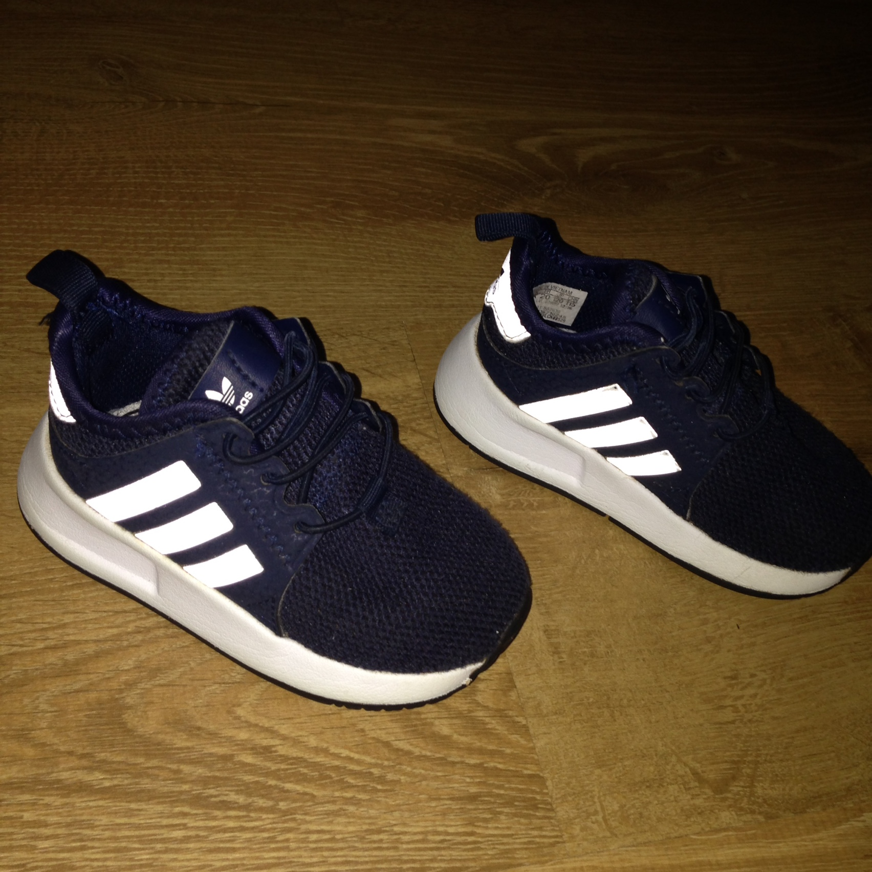 Baby boys navy blue adidas trainers