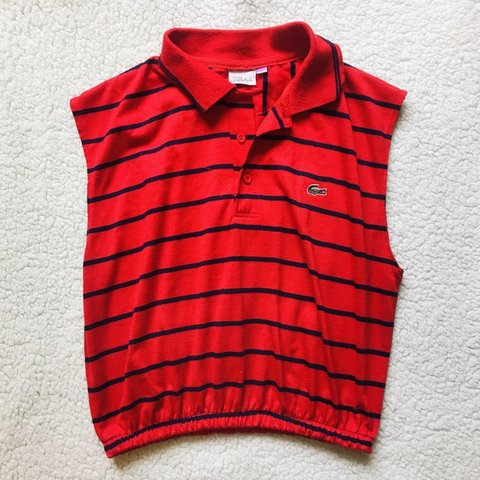 4bee1e16c Reworked Lacoste crop top Great condition Size 8-12 Red a a - Depop