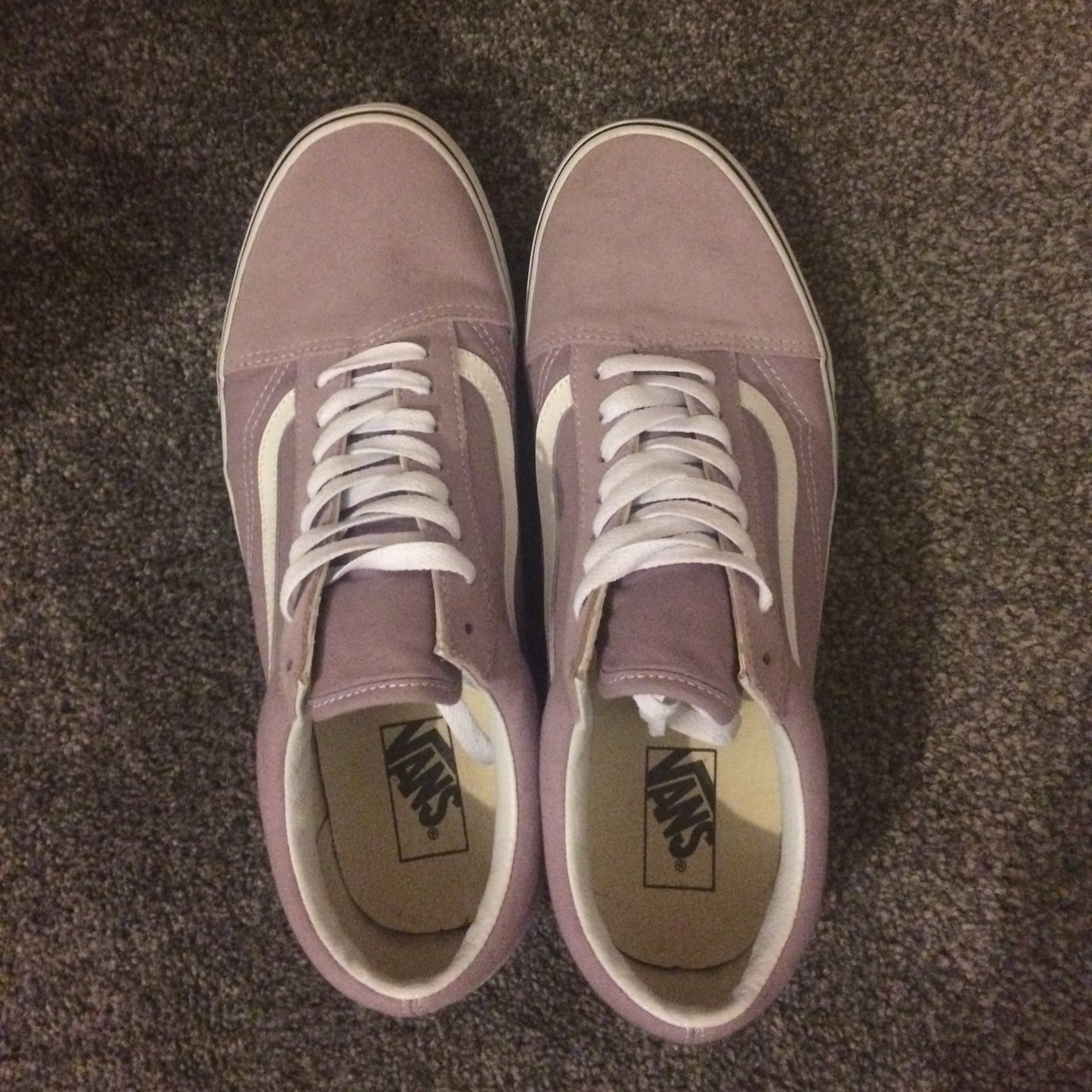 94fd55cfba4559 Light purple and white vans. Mens size 11. In great only - Depop