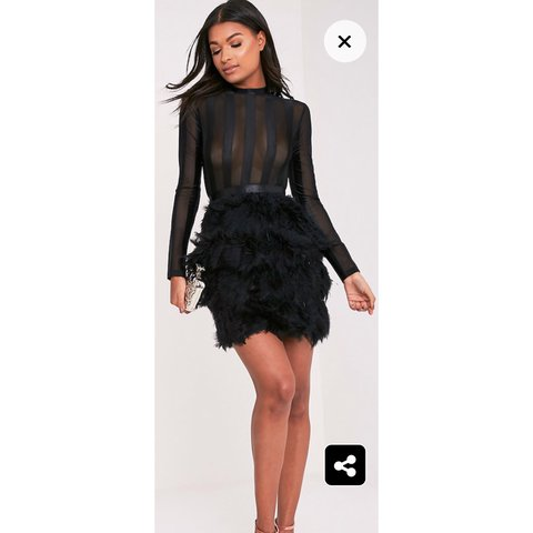 c658a3caefd Black Feather Skirt Bodycon Dress Look super chic this party - Depop