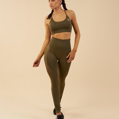 fab4a3bd7fe22 @rosieaking. last year. Hoboken, United States. Khaki Gymshark energy  Seamless leggings in size small. Brand new with tags! Never worn.