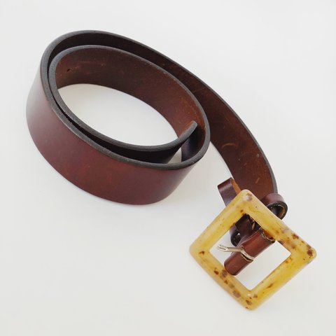 85c33db12c5 Vintage The Limited leather belt with a tortoiseshell square - Depop