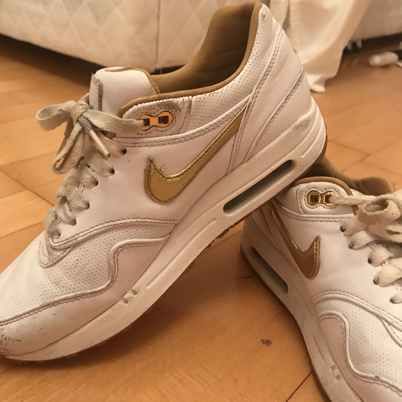 White Nike Air Max 901 limited edition gold Depop