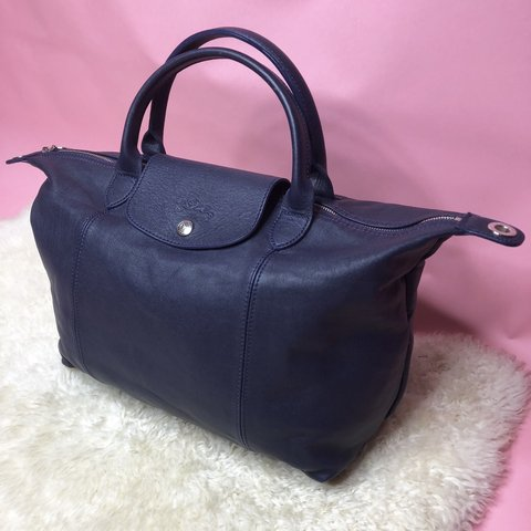 Beautiful Longchamp  Le Pliage Cuir  handbag in navy blue of - Depop 67fe669bcbaa1
