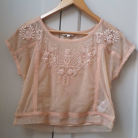 bc261699468 Stunning dusky pink mesh crop top with gorgeous beaded and a - Depop