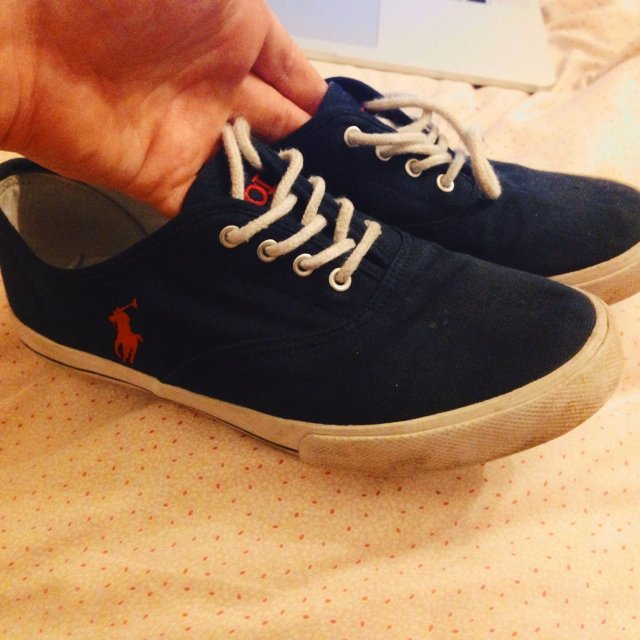 948ef6241f Polo Ralph Lauren size 4.5 plimsoles in navy with red logo. - Depop