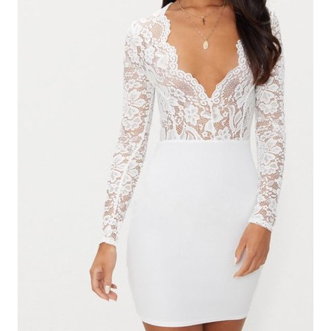 2327d0535d Selling this White Lace Long Sleeve Bodycon Dress ❤ From 10 - Depop