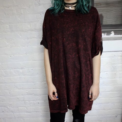 Oversized Emo T Shirt Dress The Coloring Is Redblack And Depop