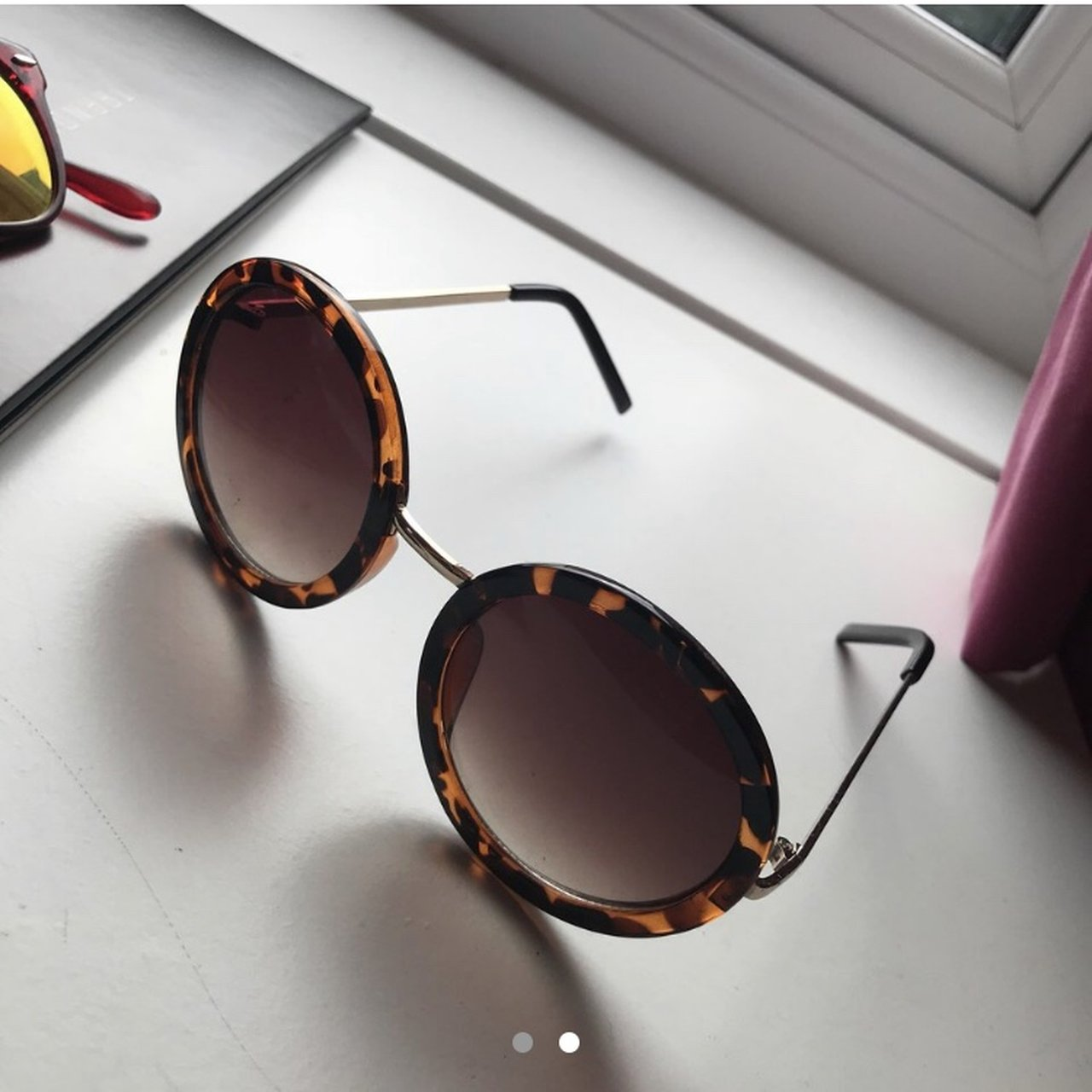 8caf91734eb Round sunglasses with Leopard print