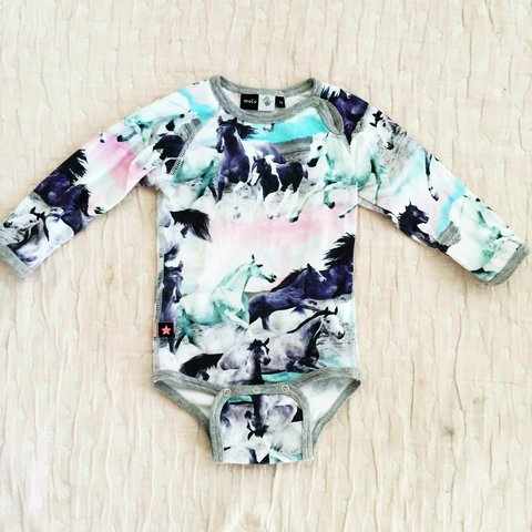 3aa2468abffb Molo Kids Wild Horses body onesie for baby girl. Limited out - Depop