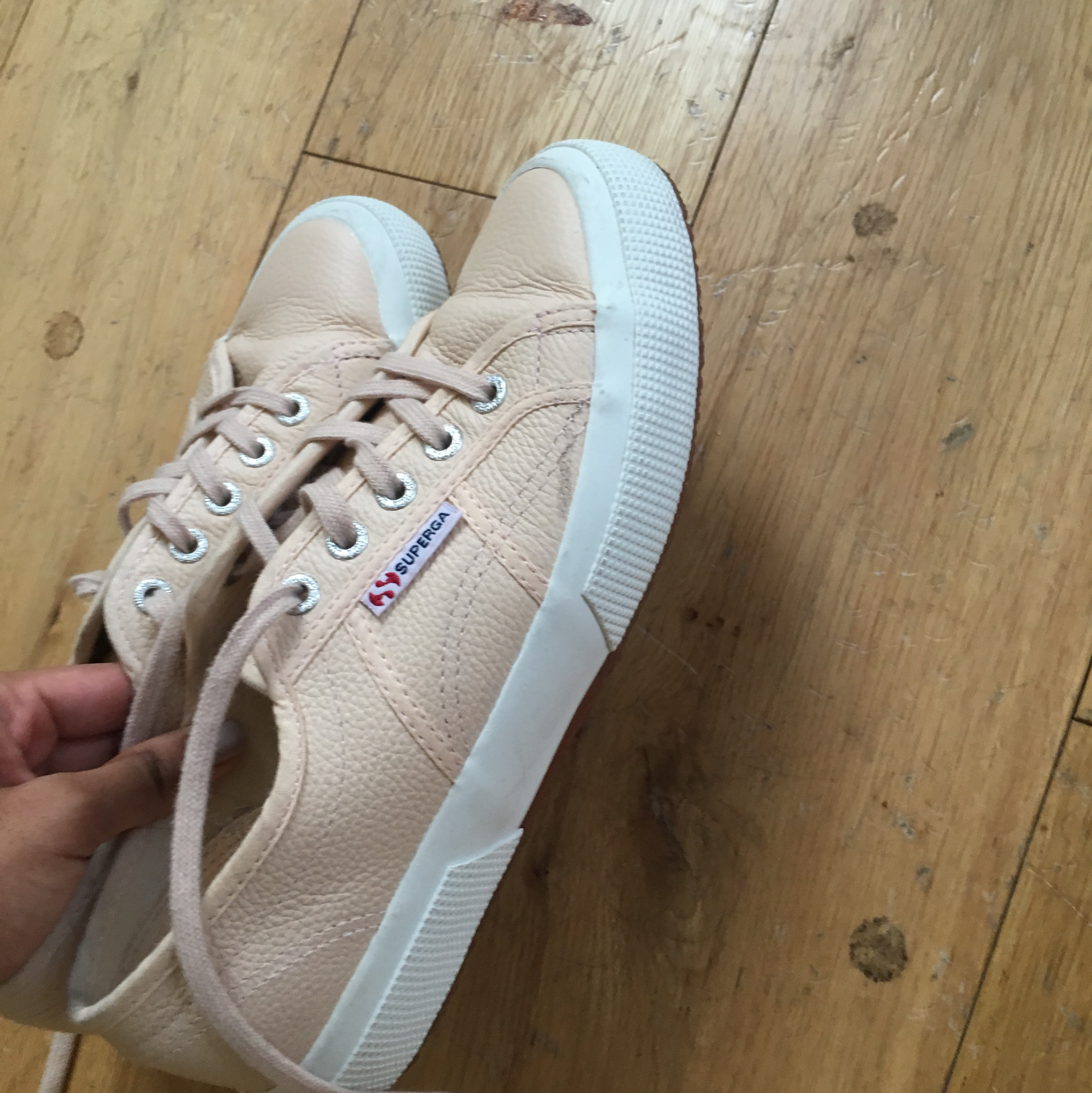 Superga pink leather trainers. Very