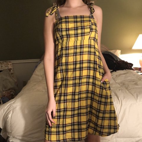 535d002386 yellow plaid hot topic 90s dress ♥ size  S M condition  ( - Depop