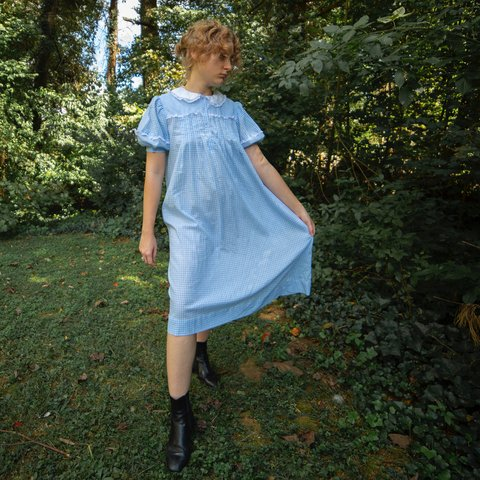 9da9abcb4 vintage baby blue baby doll gingham dress. would make a puff - Depop