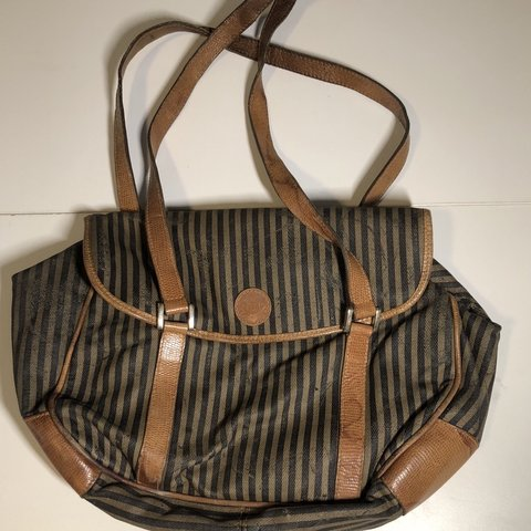 8c323872ba43 Very old rare striped zucca fendi bag!! Beautiful work The - Depop