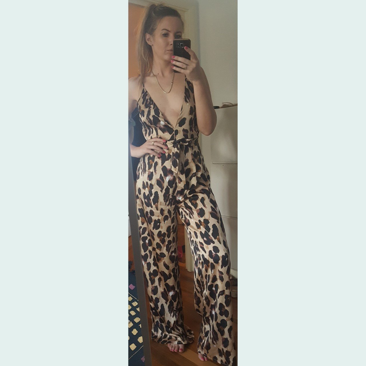b05edf72857 Missy empire leopard print palazzo wide leg jumpsuit with in - Depop