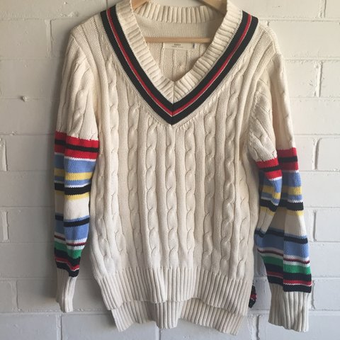 9064aeb8cdc 🌈 🏏 Cable knit cricket jumper with a colourful twist! 🌈 I - Depop