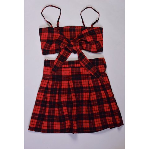3a421a24f34922 Black and red tartan 2 price co-ord set Sizes 4   6 1-4 on - Depop