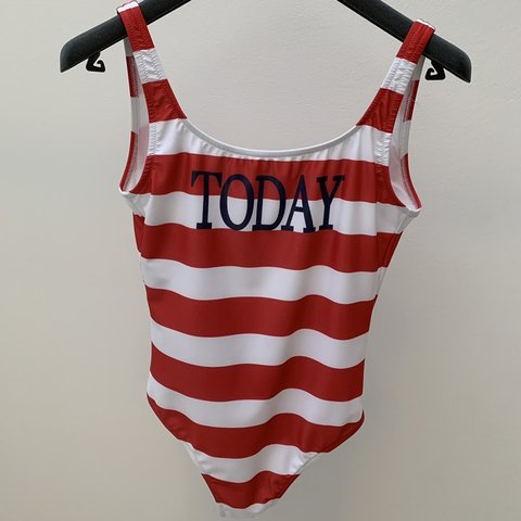 8f882c8b2d999 ALBERTA FERRETTI striped swimsuit Red and white striped from - Depop