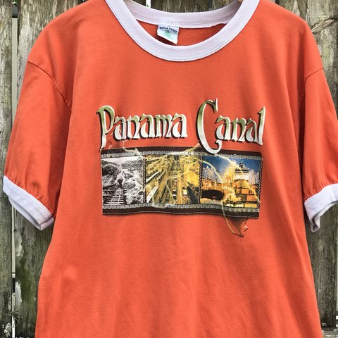 75faf15f3a6661 Vintage single stitch Panama Canal ringer T-shirt in great - Depop